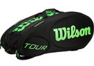 WILSON СУМКА ТЕННИСНАЯ TOUR MOLDED BLACK/GREEN 15-PACK